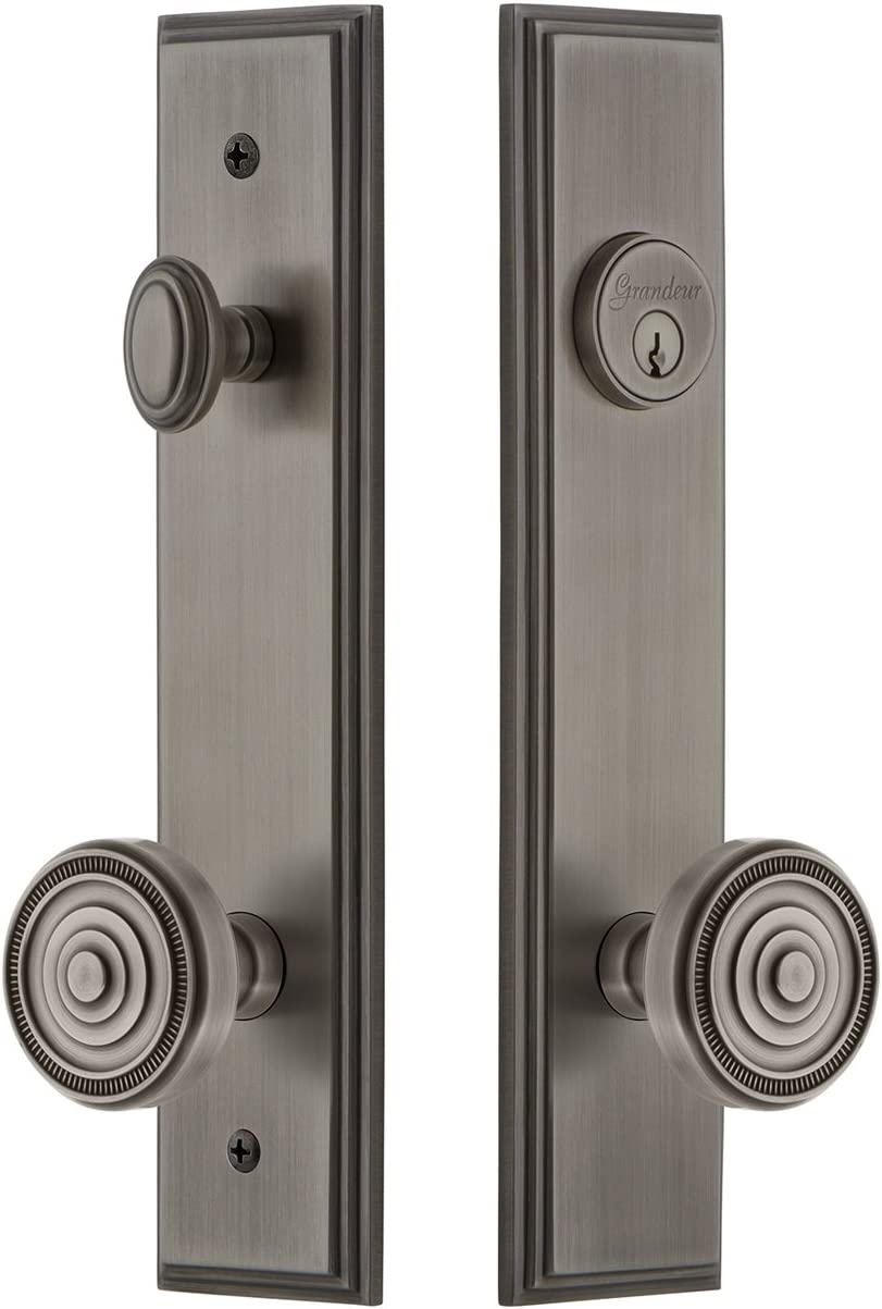 Grandeur Hardware 840333 Carre Tall Plate Complete Entry Set With Soleil Knob Backset Size 2 375 Antique Pewter Amazon Com