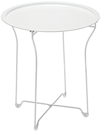 Wonderful Dar Living Metal Tray Side Table, White