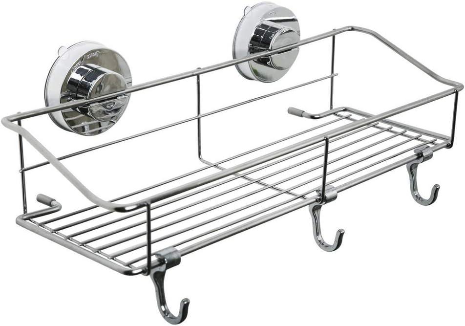 Queta - Cesta de ducha con ventosa y estante de pared sin agujeros, 304 cesta de acero inoxidable para baño, balcón y cocina, estante para especias (35 x 14,5 x 4,5 cm)