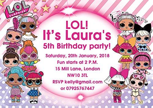 Abv Designs 10 X Lol Dolls Personalised Children Birthday Party