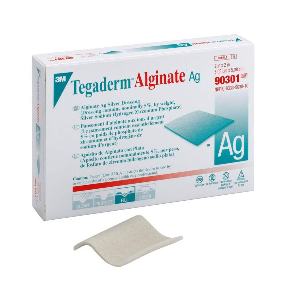 3M Calcium Alginate Dressing with Silver Tegaderm Alginate Ag 2 X 2 Inch Square Sterile (#90301, Box of 10)