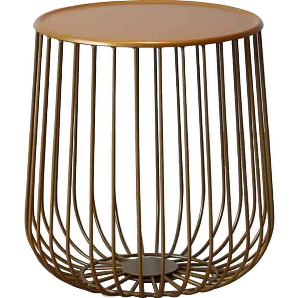 LQQGXLBedside Table Round Wrought Iron Coffee Table Living Room Balcony Studio Creative Side Table Brown Small Side Table by LQQGXL