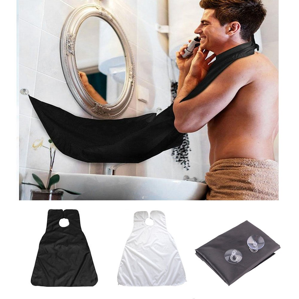 HappyX Beard Bib Apron, Hair Clippings Catcher, Grooming Cape Apron for Man Beard & Mustache Shaving and Trimming (Black)