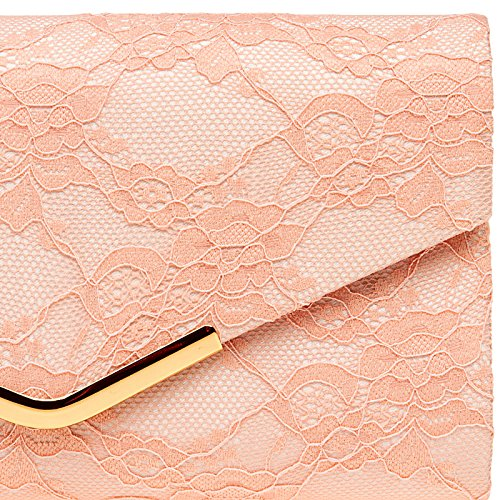 with Clutch CASPAR Ladies Lace and Bag Evening Clip Metal Elegant Envelope Rose TA429 6w0wxqOg