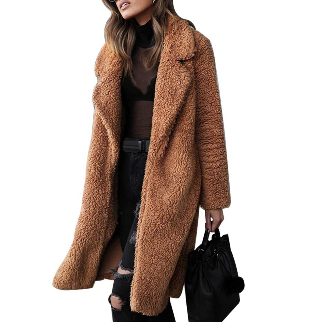 XWDA Women Long Thicken Warm Teddy Pocket Fleece Long Jacket Coat Cardigan Overcoat