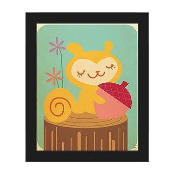 Amazon.com: Petite Squirrel with Huge Acorn on Tree Stump Graphic ...