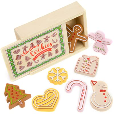 Imagination Generation Wood Eats! Christmas Cookies Playset, Assorted Selection of Gingerbread Cookies in Wintery Designs with Storage Box (9pcs): Toys & Games