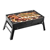 TeqHome Portable Charcoal Grill, Foldable Barbecue Grill Small BBQ Grill for Outdoor, Backyard, Camping, 17 x 10 x 11…