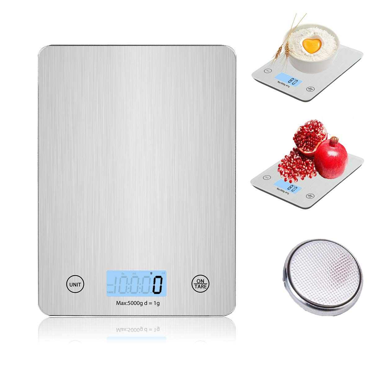 Digital Kitchen Scale, 5kg/11lb High Precision Food Weighing Scale with LCD Display, Ultra-Thin and Stylish Tempered Glass Platform, Anti-Fingerprint Easy to Clean, Electronic Cooking Scale, Tare Function, Silver UROPA HERO