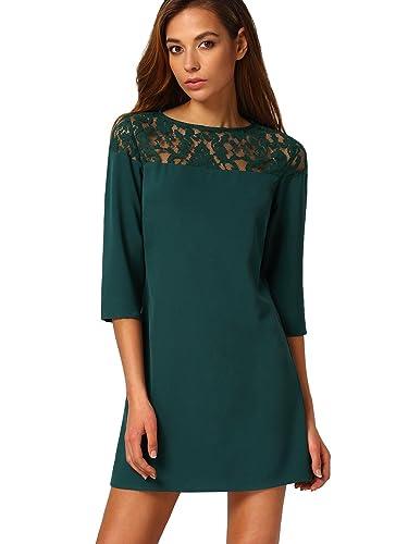 SheIn Women's Hollow Sheer Lace 3/4 Sleeve Shift Dress