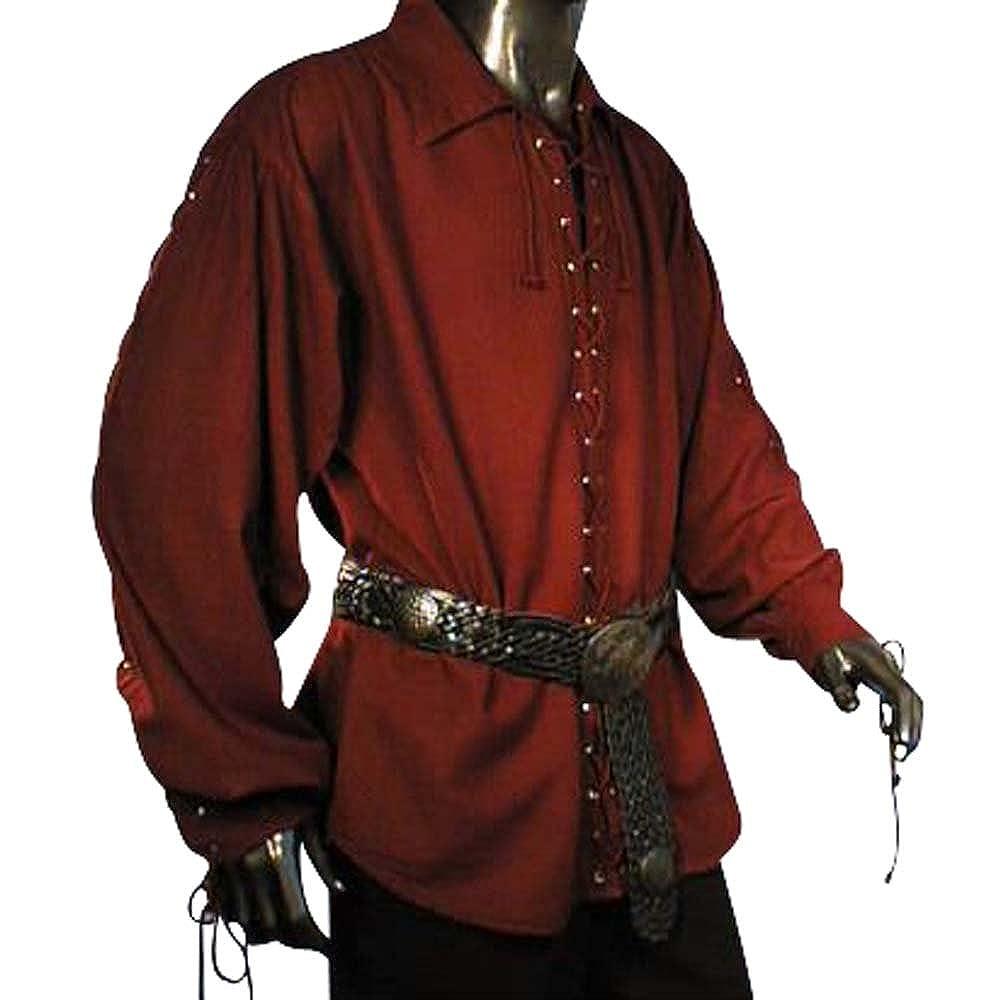 Baumwollhemd Piratenhemd Pirat Hemd geschnürt Gr. S-XXXL Natur, Schwarz, Weinrot