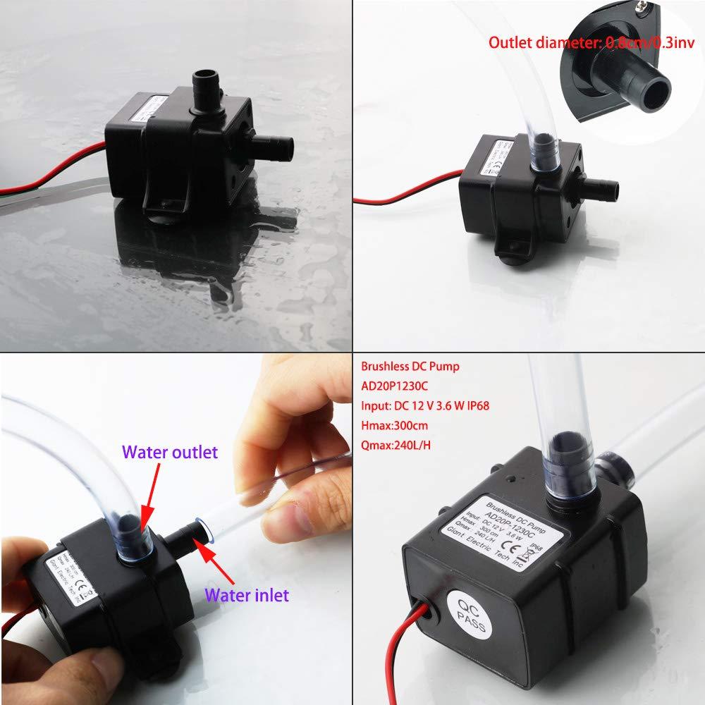 KINYOOO 12V Micro Sin Cepillo de la Bomba de Agua, Mini Micro Bomba Sumergible para Pecera Acuario Jardín, Estanque, Fuente (+ con Tubo de Agua Suave de PVC ...