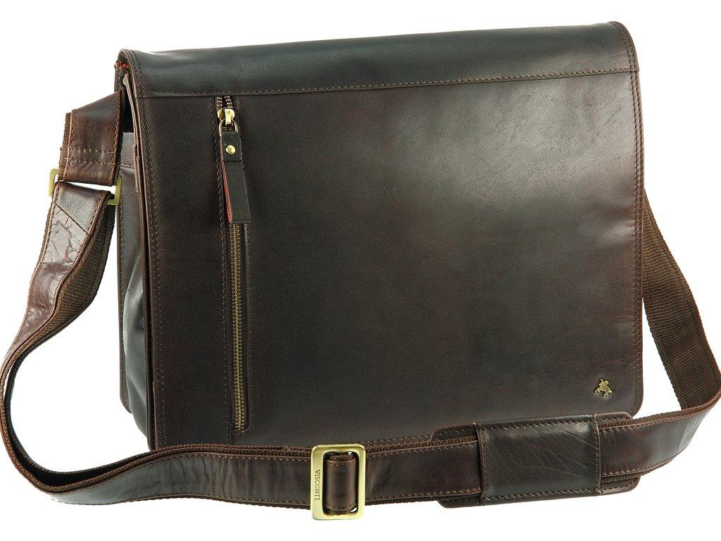 Visconti Buffalo Leather 13 Inch Laptop Case Messenger Shoulder Bag Handbag, Brown, One Size