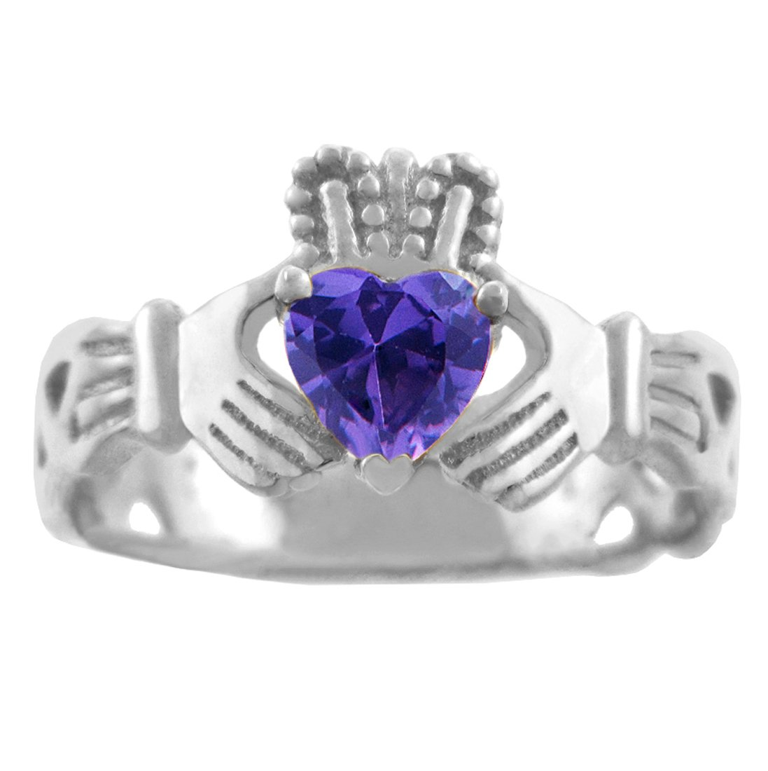 10k White Gold Created Purple CZ Heart February Birthstone Claddagh Ring by Claddagh Rings (Image #2)