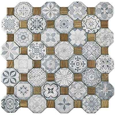 "SomerTile FOSTESBL Abacu Ceramic Floor & Wall Tile, 12.25"" x 12.25"", Blue,,, Blue, Grey, Brown"