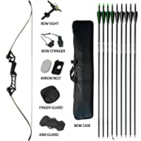 D&Q Hunting Recurve Bow Kit Package 30 35 40 45 50 55 60 lb Aluminum Alloy Riser Shooting Target Practice Competition Adult Archery Takedown Bow And Arrow Set with Bow Case Black Camo Right Handed