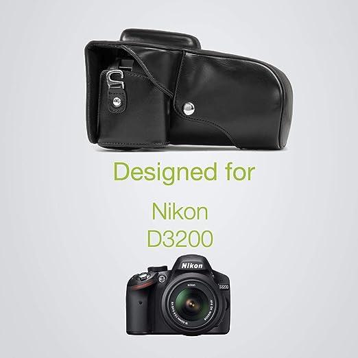 MegaGear Ever Ready - Funda de Piel para Nikon D3200/D3300 con ...