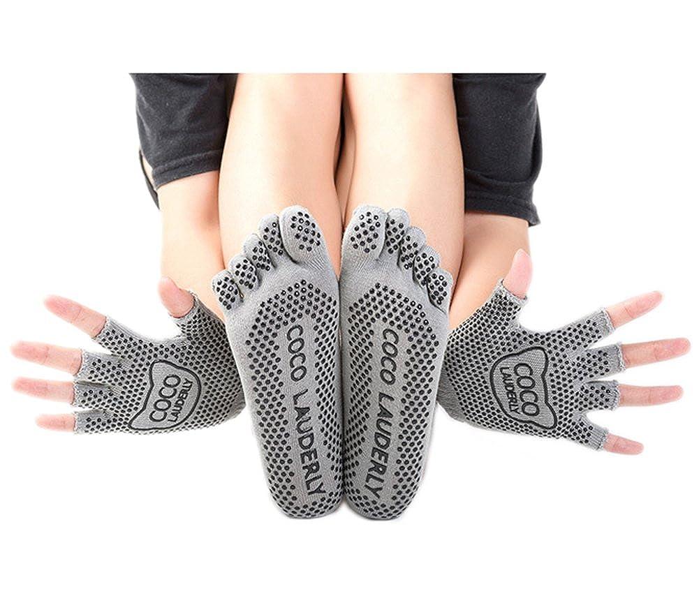 Amkun Women Toe Socks Cotton Non Slip Pilates Yoga Socks Cute Five Fingers Sokken With Gloves