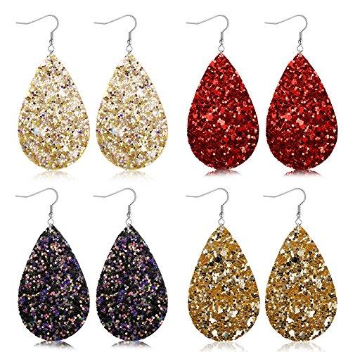 FIBO STEEL 4 Pairs Teardrop Leather Earrings for Women Girls Statement Druzy Dangle Earring Set