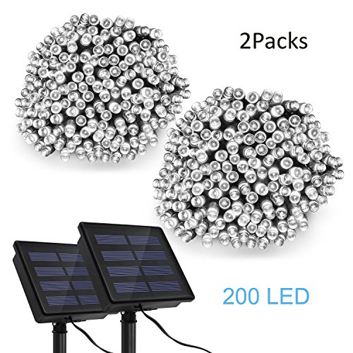 String Lights Solar Powered Waterproof, TECBOX 72ft 200 LED Fairy Lights, 2 Pack Solar String Lights for Home Patio Lawn Gate Party Tree Garden Holiday (White) by TECBOX