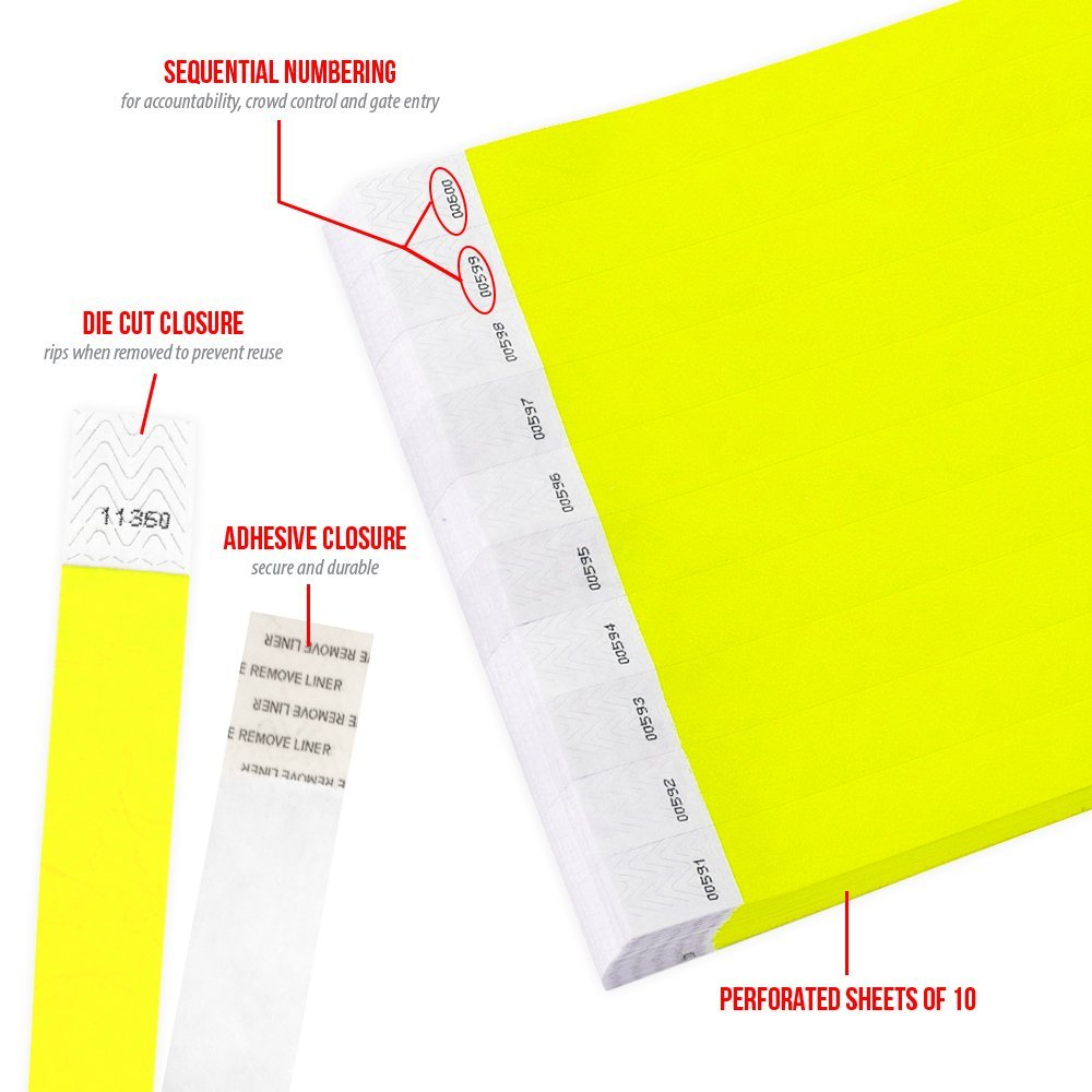 """WristCo Neon Blue 3//4/"""" Tyvek Wristbands 1000 Pack Paper Wristbands for Events"""
