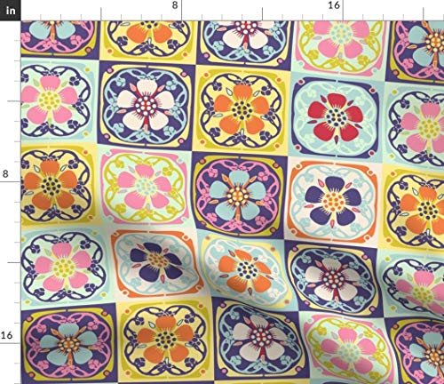Flower Cheater Quilt Block Fabric - Rainbow Cheater Quilt Block Quilt Block Cheater Quilt Yellow Flowers Flower Floral Geometric by Vinpauld Printed on Petal Signature Cotton Fabric by The Yard