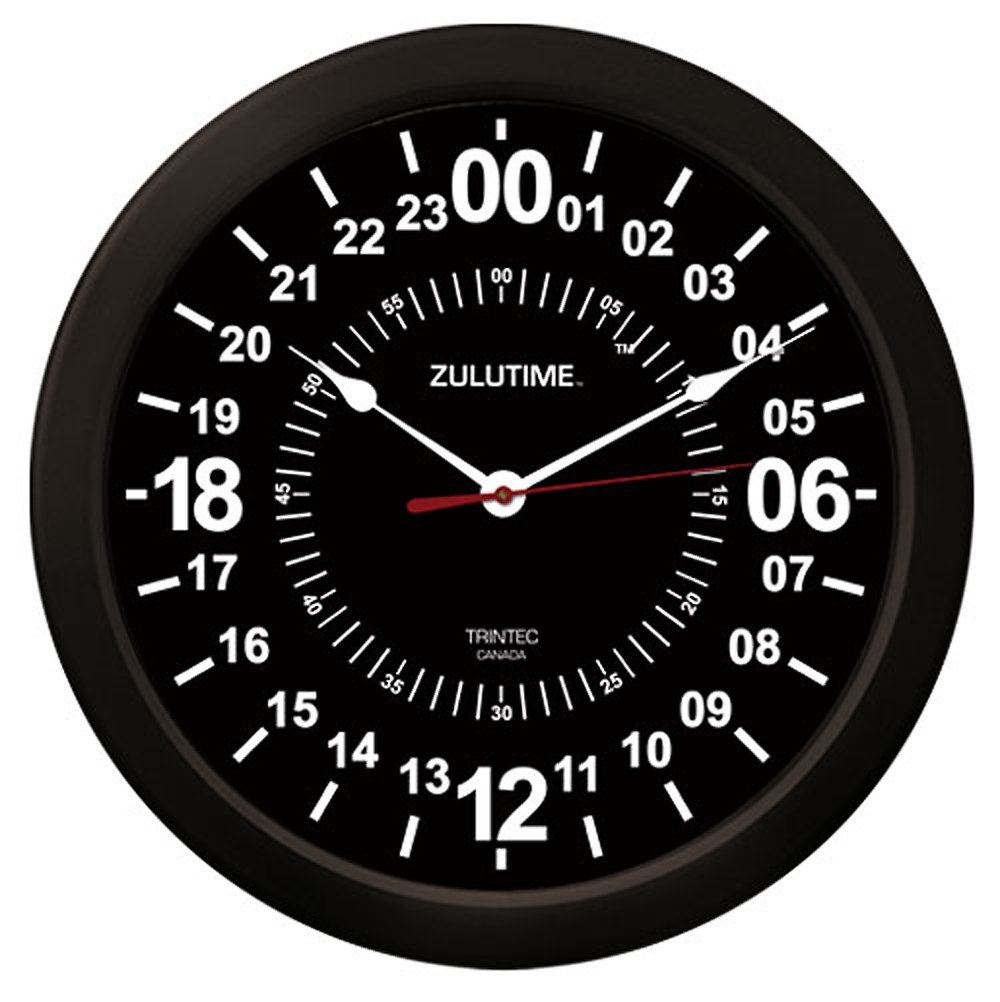 "Trintec 24 Hour Military Time SWL Zulu Time 24Hr Wall Clock 10"" Black Dial"