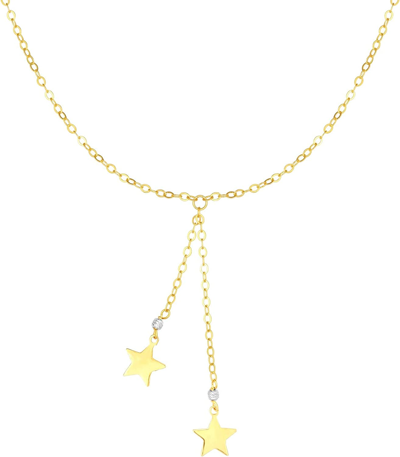 14K Yellow /& White Gold Finish Shiny Fancy Necklace 17 with Lobster Clasp by IcedTime