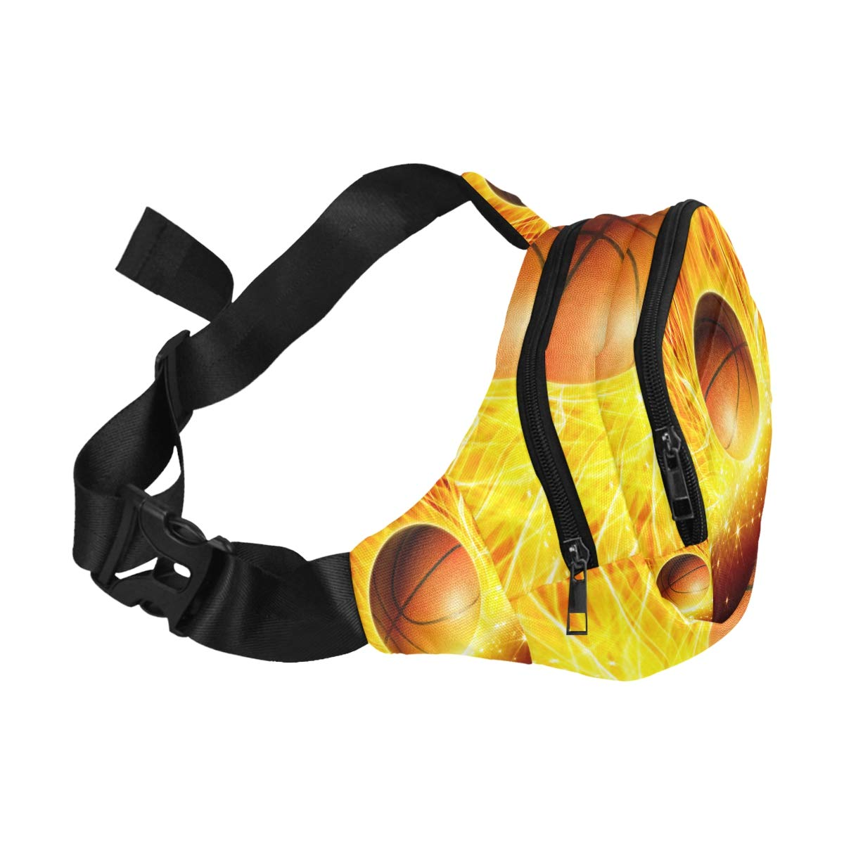 Basketball Ball In Fire And Water Fenny Packs Waist Bags Adjustable Belt Waterproof Nylon Travel Running Sport Vacation Party For Men Women Boys Girls Kids