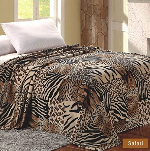 Safari Printed - Home Must Haves Bed MicroPlush Printed King Size Blanket Safari, Brown