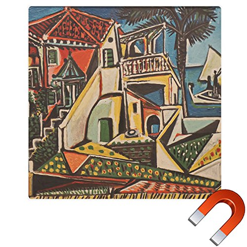 Mediterranean Landscape by Pablo Picasso Square Car Magnet - (Picasso Square)