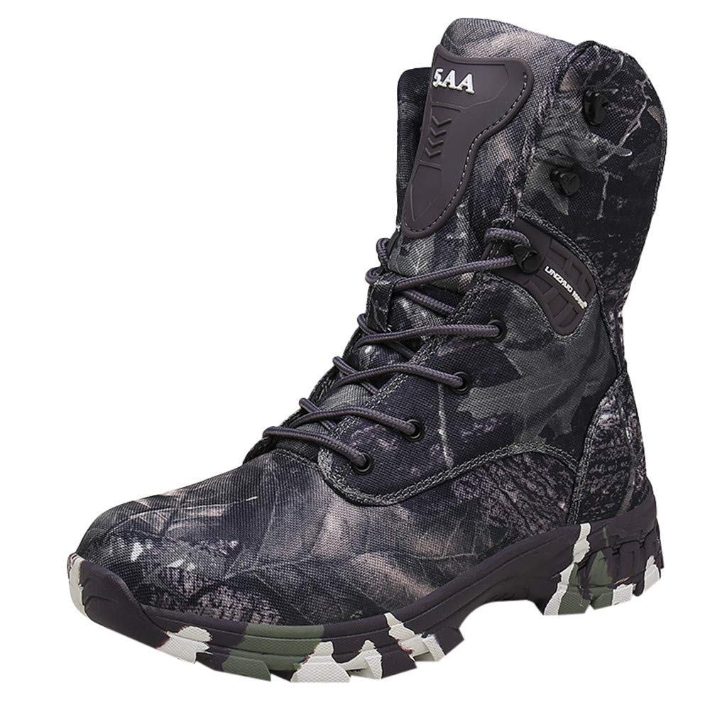 Men's Tactical Military Boots Combat Military Tactical Mid-Ankle Boots Outdoor Work Hunting Hiking Boots (US:12.5, Gray) by Yihaojia Men Shoes