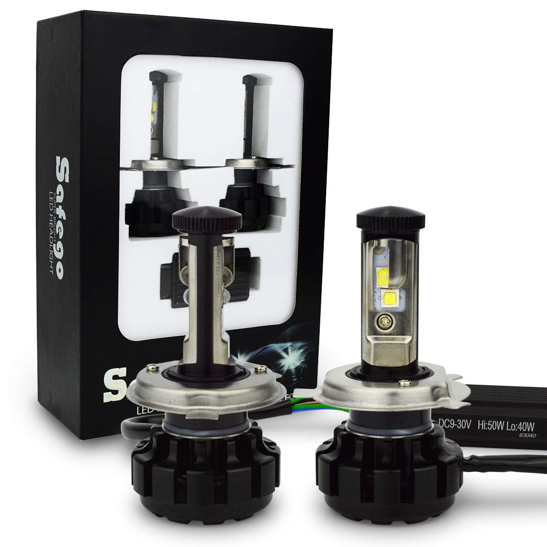 Safego H4 High Low Faro Bulbi Auto LED Luci 80W 8000LM Super Luminosa Lampada con Cree Chip, Kit LED 6000K Bianco 12V CC Conversion Kit Accessore NA