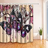 Shower Curtain Sets NYMB Spring Wild Flower Decor, Romantic Purple Butterflies in Flowers  69X70 inches Mildew Resistant Polyester Fabric Shower Curtain Set Fantastic Decorations Butterfly Bath Curtain