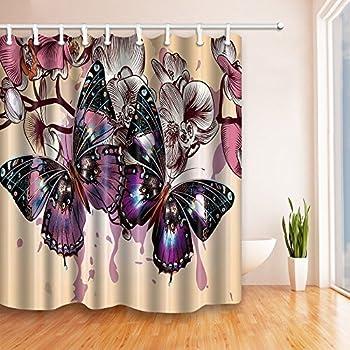 Romantic Purple Butterflies In Flowers 69x70 Inches Mildew