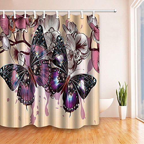 NYMB Spring Wild Flower Decor, Romantic Purple Butterflies in Flowers  69X70 inches Mildew Resistant Polyester Fabric Shower Curtain Set Fantastic Decorations Butterfly Bath Curtain