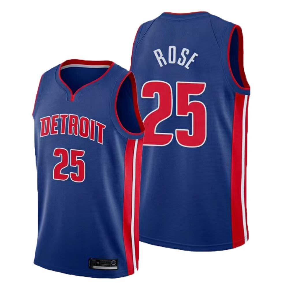 Herren Basketball Kleidung 170CM//50~65Kg Vintage Cool Atmungsaktives Gewebe All-Star Unisex Fan Uniform,A,S Detroit Pistons # 25 Derrick Rose Classic Trikot