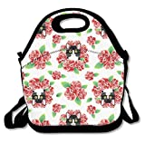 amuseds Tuxedo Cat And Roses Lunch Bag Lunchboxes Outdoor Travel Picnic Lunch Box Bag