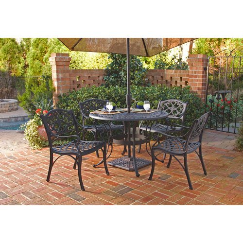 Superbe Home Styles 5554 308 Biscayne 5 Piece Black Cast Aluminum Patio Furniture  Outdoor Dining