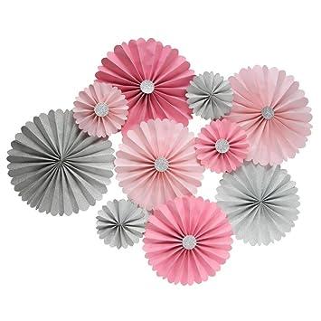 Mybbshower Pink Silver Paper Rosette Wedding Background Birthday Baby Nursery Wall Decoration Diy