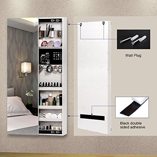 NEX Door Wall Mounted Jewelry Armoire Makeup Storage Organizer with Real Glass Mirror - White by NEX (Image #3)