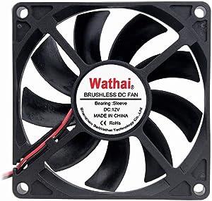 Wathai Radiator Cooler Fan 80x80x15mm 80mm 12V 2Pin DC Brushless Cooling Case Fan