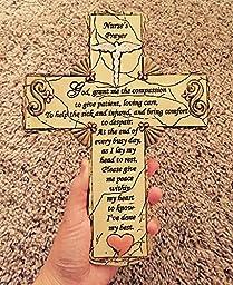 Nurse Cross Nursing Gift With Caduceus And Nurse\'s Prayer Stone Look Resin - 10 Inch