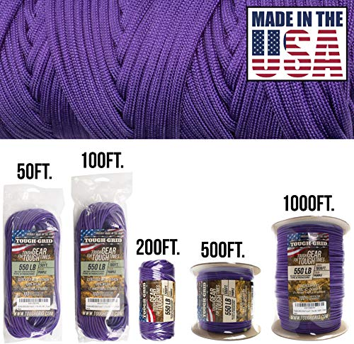 TOUGH-GRID 550lb Purple Paracord/Parachute Cord - 100% Nylon Genuine Mil-Spec Type III Paracord Used by The US Military - Great for Bracelets and Lanyards - Made in The USA. 50Ft. - Purple