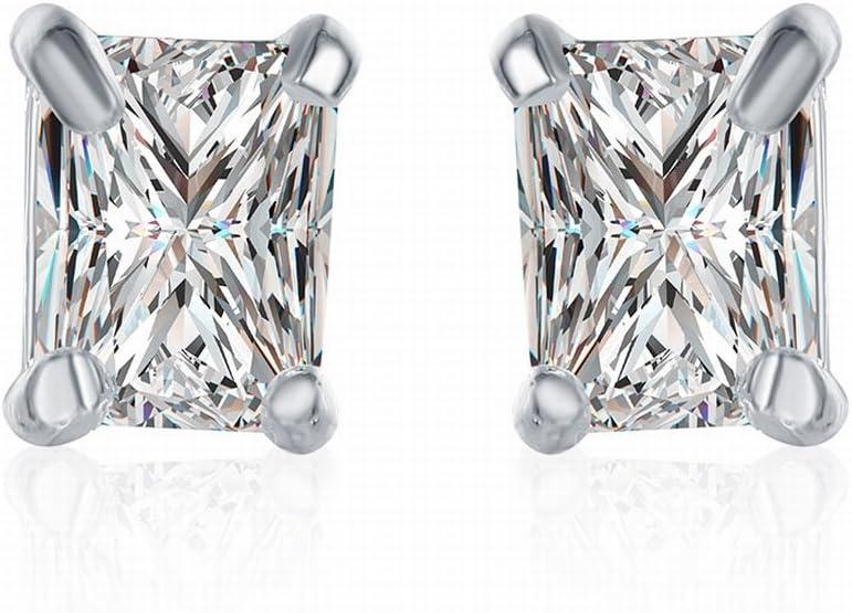 Pendiente de Diamante de Piedra Blanca Rectangular Pendientes de Zircon Zirconio Geométrico , Plateado