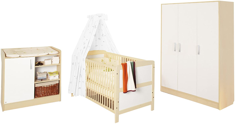 Pinolino 100095G - Florian Kinderzimmer groß, bestehend aus dreitürigem Schrank, Wickelkommode und Bett (ohne Textilien)