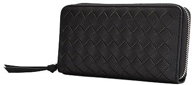 426a2690c4b4 ブラック F イントレチャート 編み込み メッシュ レザー 長財布 メンズ 財布 ラウンドファスナー 薄型 大容量