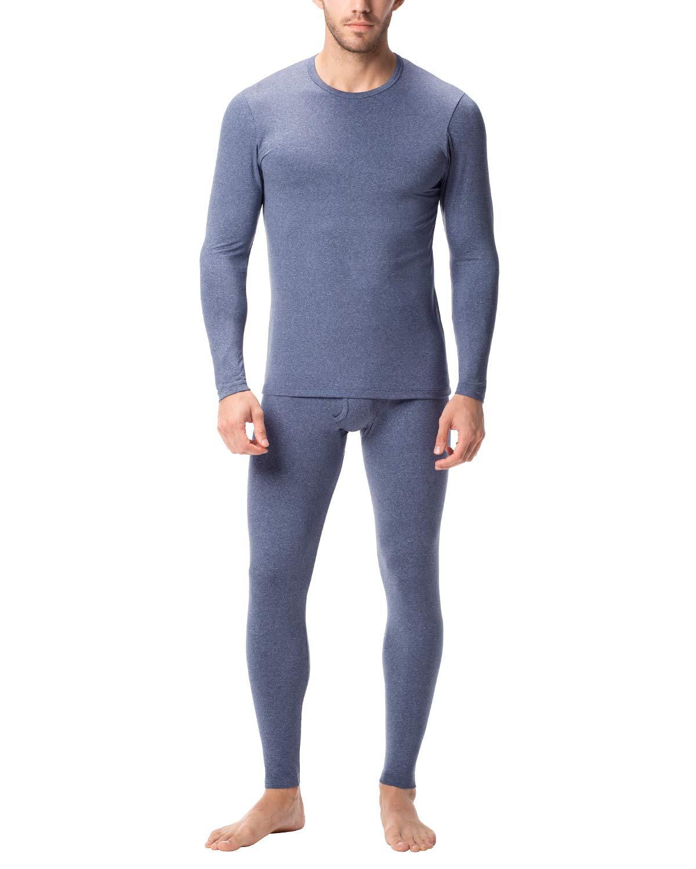 LAPASA Men's Thermal Underwear Long John Set Fleece Lined Base Layer Top and Bottom M11 (XX-Large, Fleece Lined Lightweight Heather Blue) by LAPASA
