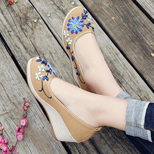 Keil mit Damenschuhe Nationaler bestickte Damen Wind Schuhe bestickten Baumwolle Stickerei Steigung Leinen HKFV Flachs Casual Beige Damenschuhe Rib Bottom ZBxZ1Fw
