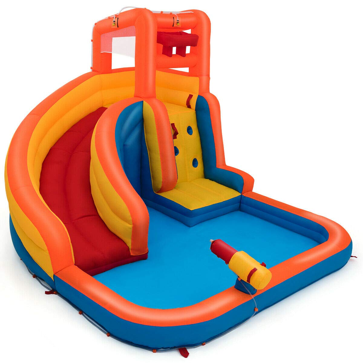 Heize Best Price Orange Inflatable Splash Water Bouncer Slide Bounce House w/ Climbing Wall & Water Hose Splash Pool(U.S. Stock) by Heize Best Price (Image #1)